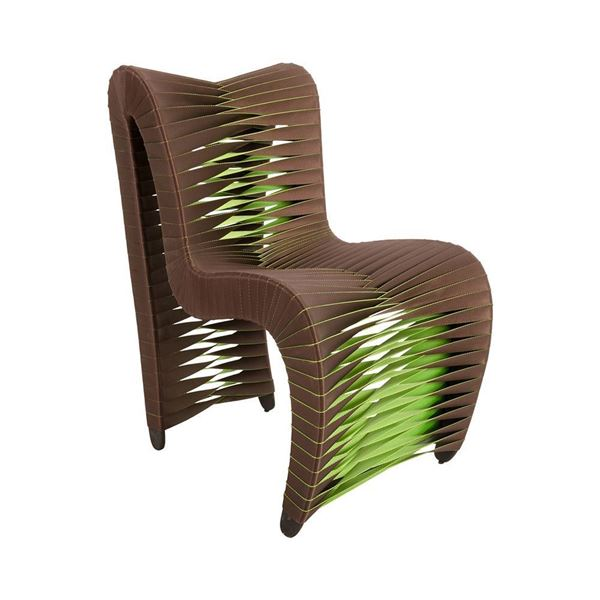 Picture of Phillips Collection Seat Belt Dining Chair Indoor Outdoor Brown / Green