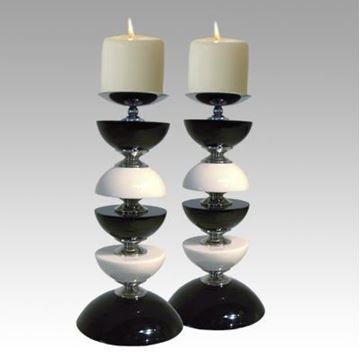 Picture of H Studio Mega Candle Holders Black & White