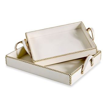 Picture of Moderna Casa Leather Trays - Cream