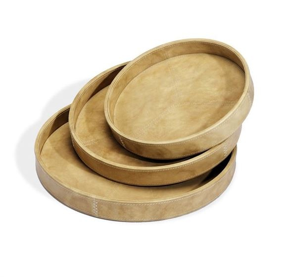 Picture of Moderna Casa Discus Server Trays in Tan Leather