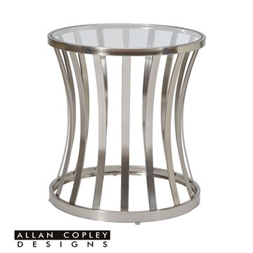 Picture of Allan Copley Alex Glass Top Satin Nickel End Table