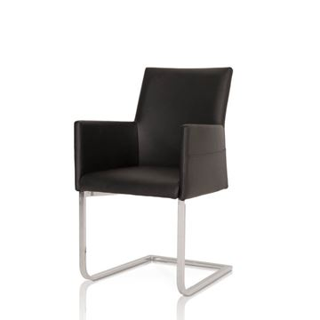 Picture of Star International Bo Dining Chair in Black Leather