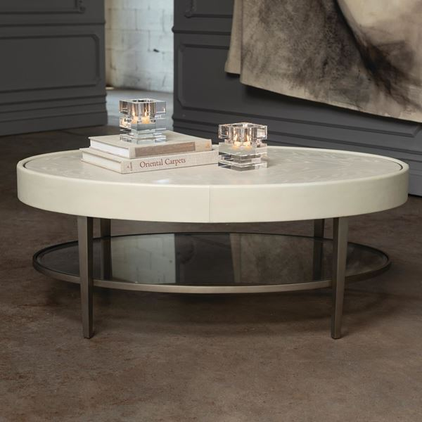 Picture of Global Views Ellipse Coffee Table - Ivory
