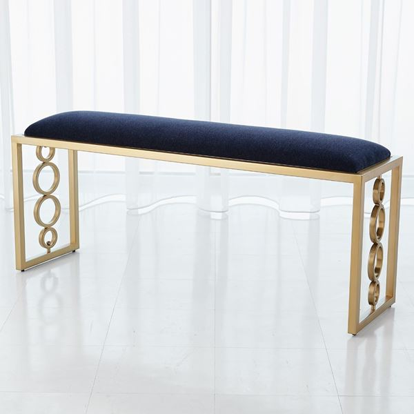 Picture of Global Views Progressive Ring Bench - Brass + Admiral Blue