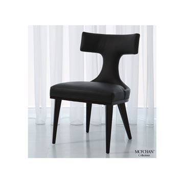 Picture of GLOBAL VIEWS ANVIL BACK DINING CHAIR - BLACK LEATHER