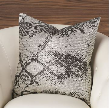 Picture of GLOBAL VIEWS SHIMMER SNAKE SKIN PILLOW-SILVER