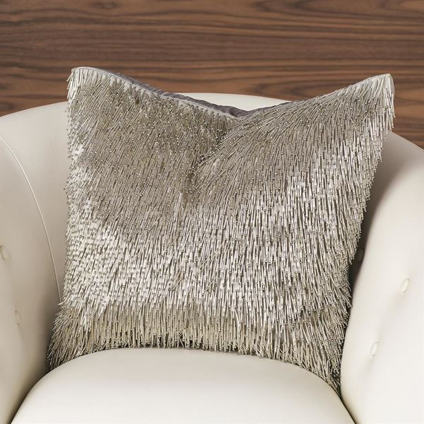 Picture of GLOBAL VIEWS SHIMMY FRINGE PILLOW-SILVER