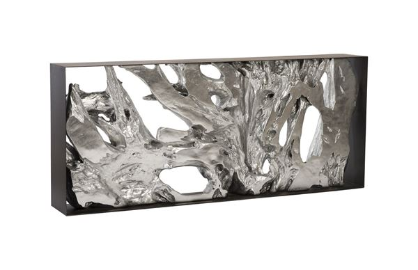 Picture of Phillips Collection Cast Root Console In Silver Leaf