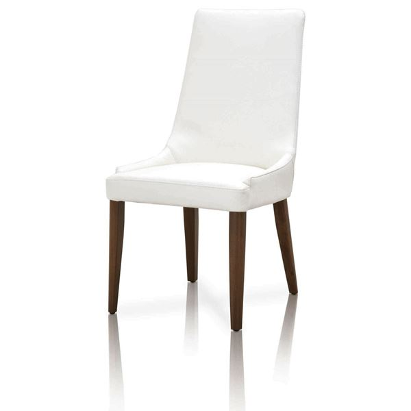 Picture of Essentials for Living Aurora Dining Chair White + Medium Walnut